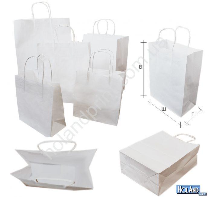 Пакеты крафт белые с ручками